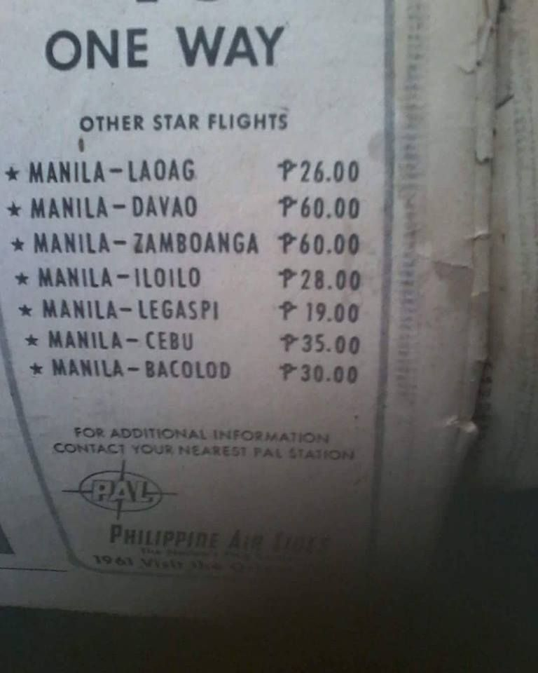 Old AIRLINE TICKETS prices (Philippine Airlines) Location