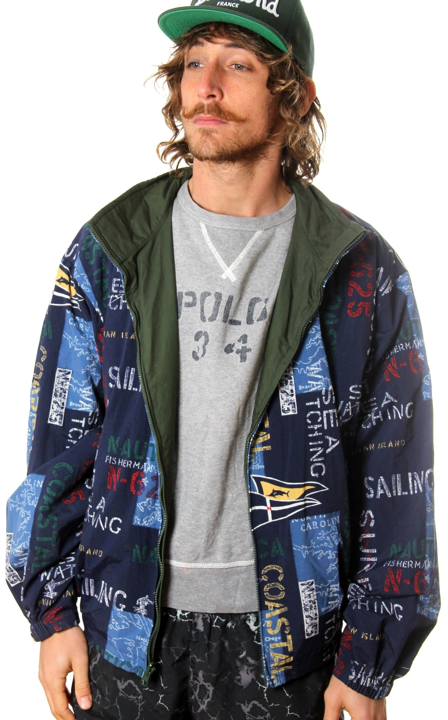 9982a39298 VINTAGE NAUTICA FISHERMAN REVERSIBLE ALL OVER PRINT JACKET | Fly ...