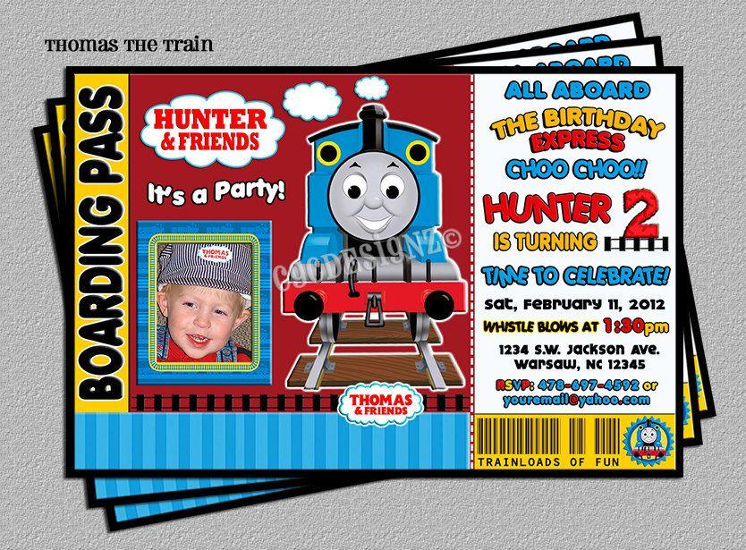 inspired thomas the train birthday party invitations,