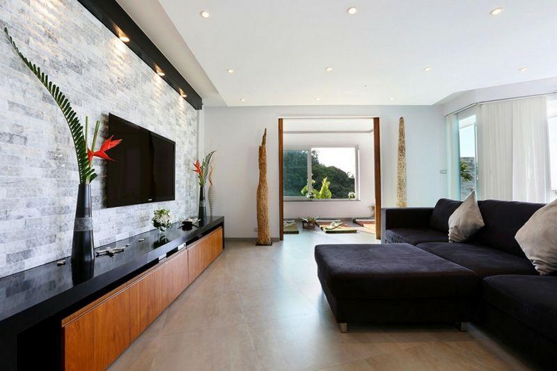 Attraktive Wandgestaltung im Wohnzimmer \u2013 Wand in Steinoptik