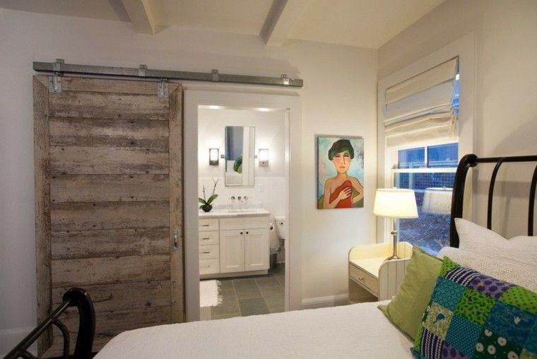cuarto baño blanco puerta madera rustica baño Pinterest