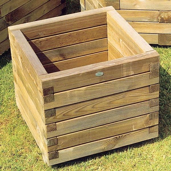 Wooden Garden Planters Ideas turn a plastic trash barrel into a standout planter easy diy projectsgarden Square Wooden Planters Love These