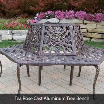 Tea Rose Cast Aluminum Tree Bench Only 925 00 Free Shipping