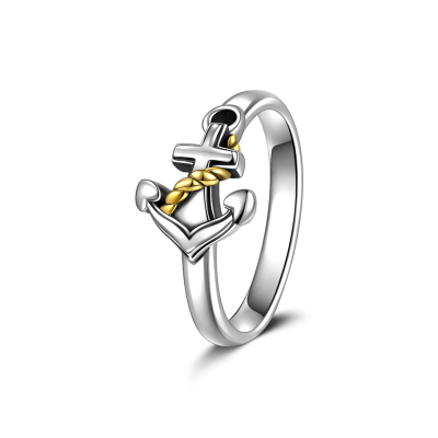 14K Gold-Plated Anchor Ring ~ $25.00 at soufeel.com