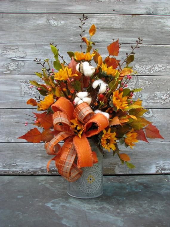 Fall Centerpiece For Table, Rustic Floral Arrangement, Cotton Table Accent, Milk Can Decor