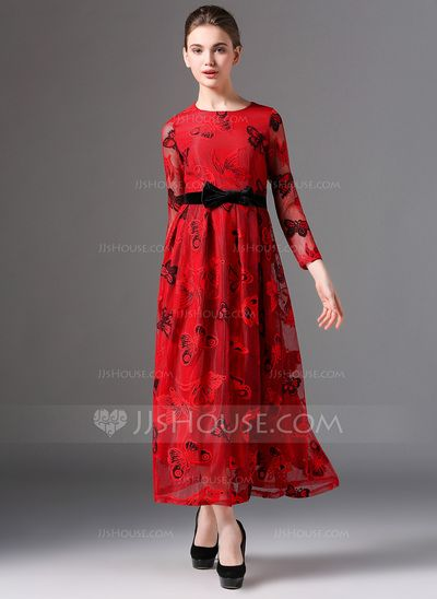 Polyester With Lace Midi Dress (199083200)