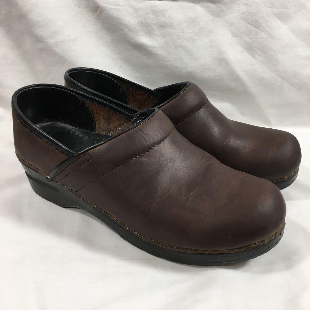 Dansko Professional Leather Black Shoes Size 39 Narrow 8.5 9 N Nurse Clog