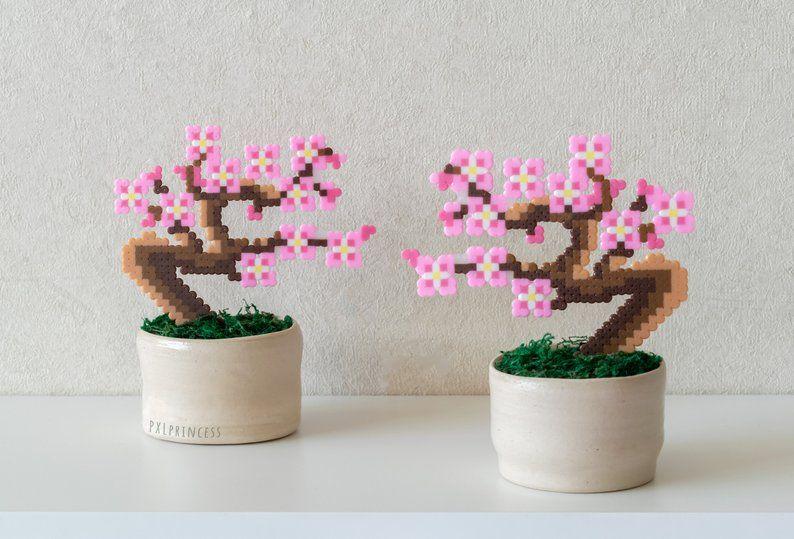 Sakura Bonsai Tree Pixel Plant In A Pot Artificial Cherry Etsy Hama Beads Design Diy Perler Beads Hama Beads