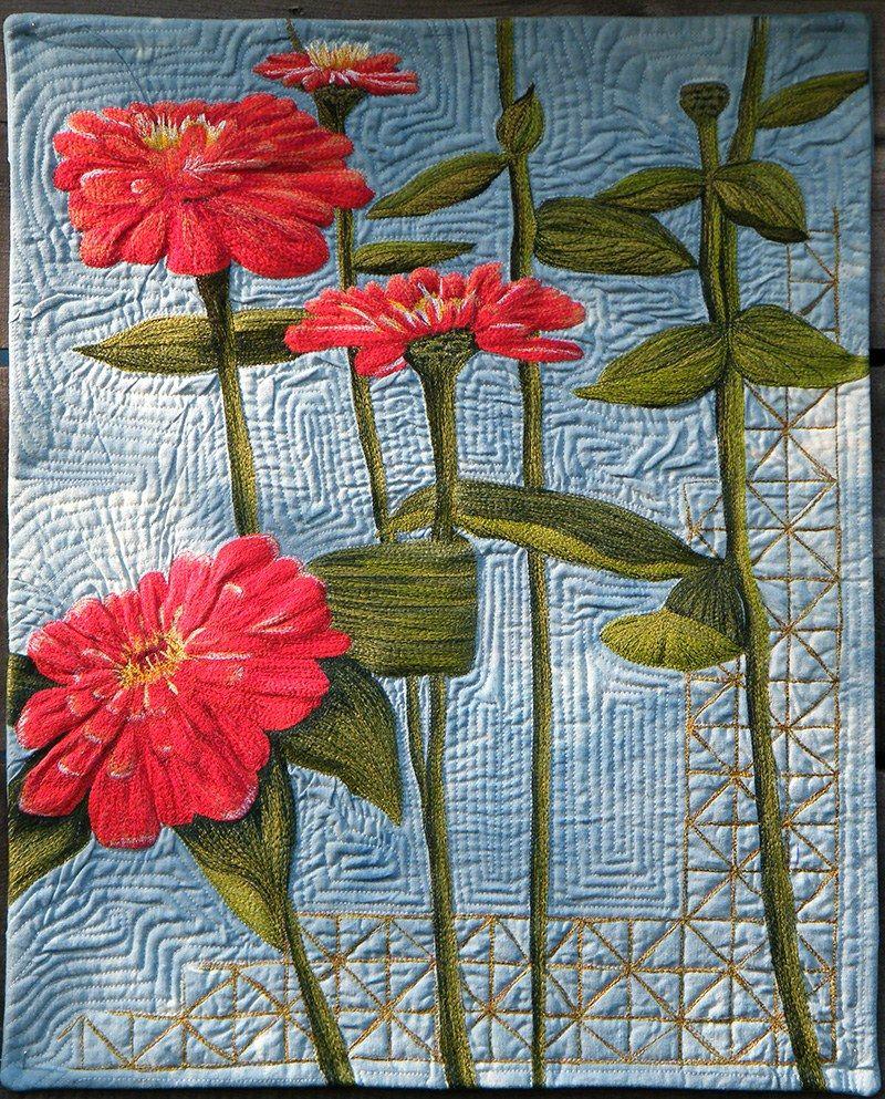 Thread Painted Art By Bridget O Flaherty Thread Painting Thread Art Fabric Art