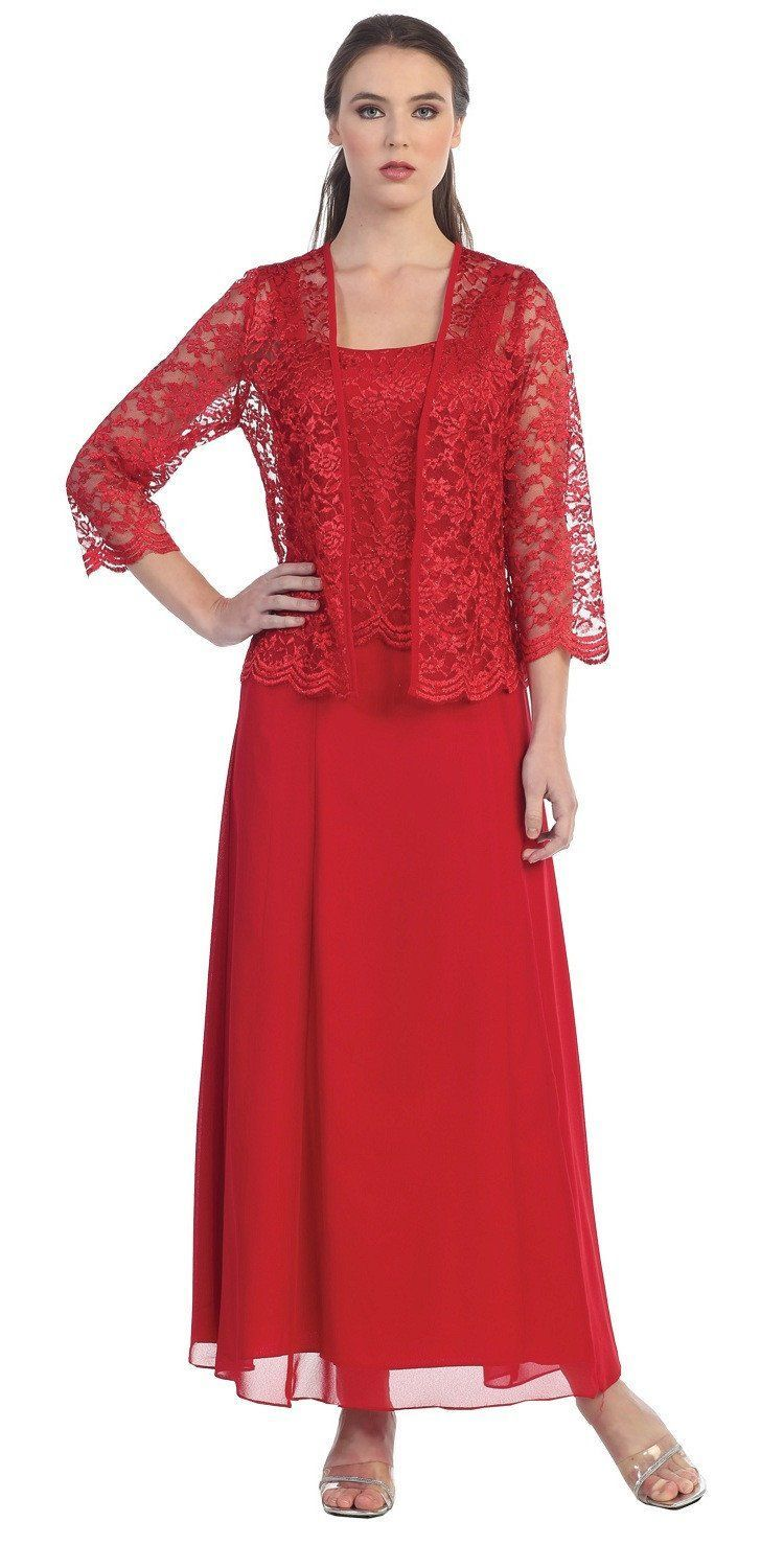 Long chiffon red mother of groom dress lace long sleeve jacket