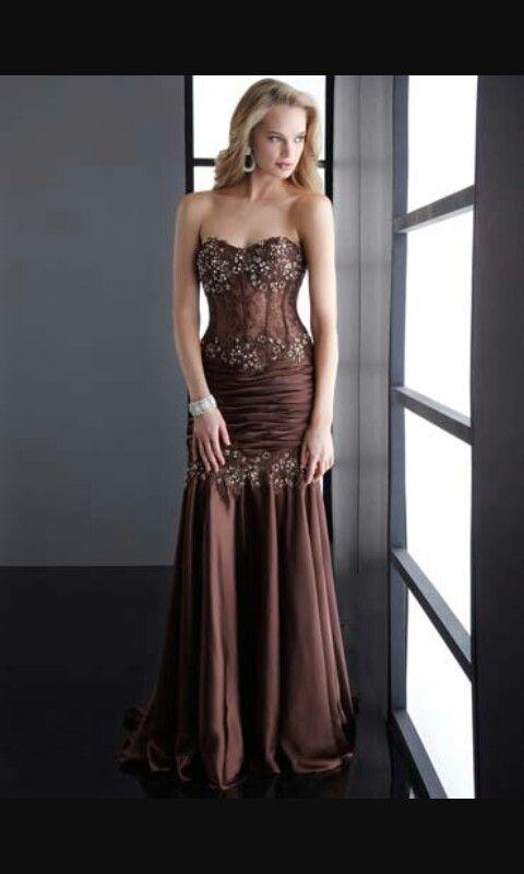 Vestido de fiesta, marron oscuro, tipo corset, drapeado, con ...