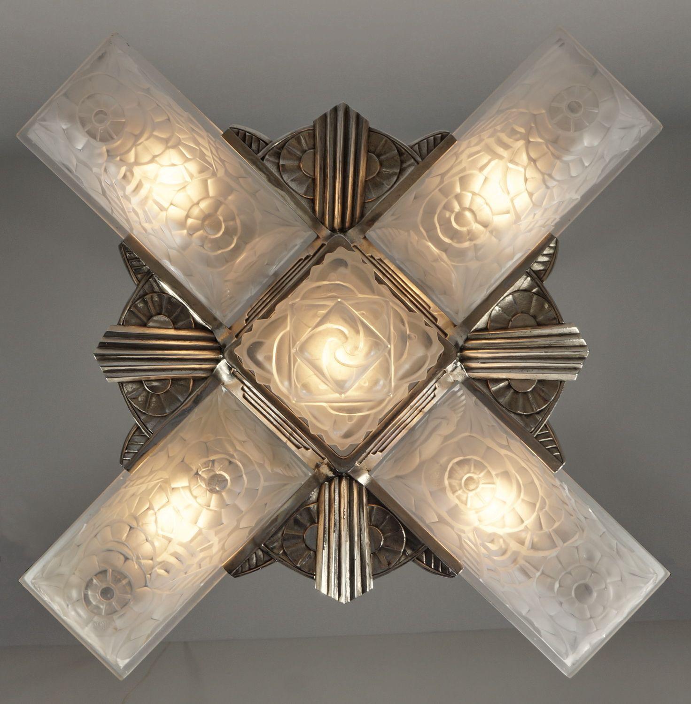 Francis hubens exceptional 1931 french art deco chandelier in francis hubens exceptional 1931 french art deco chandelier in nickeled bronze and moulded glass arubaitofo Images