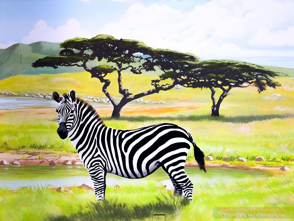 african serengeti zebra mural