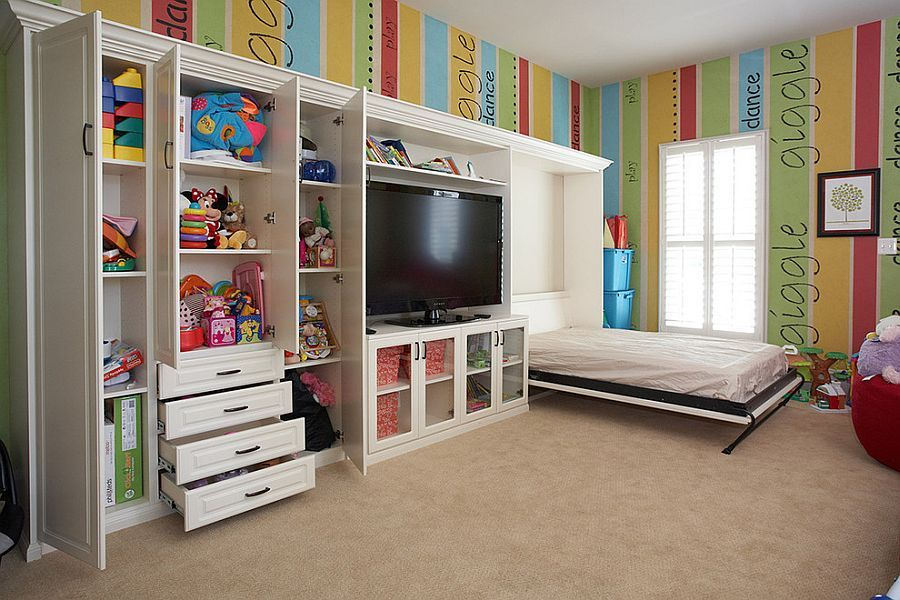 View In Gallery Take Out The Bright Walls And You Have The Ideal Guest Room And Playroom Combo Basement Guest Rooms Multipurpose Guest Room Small Kids Room #playroom #living #room #combination