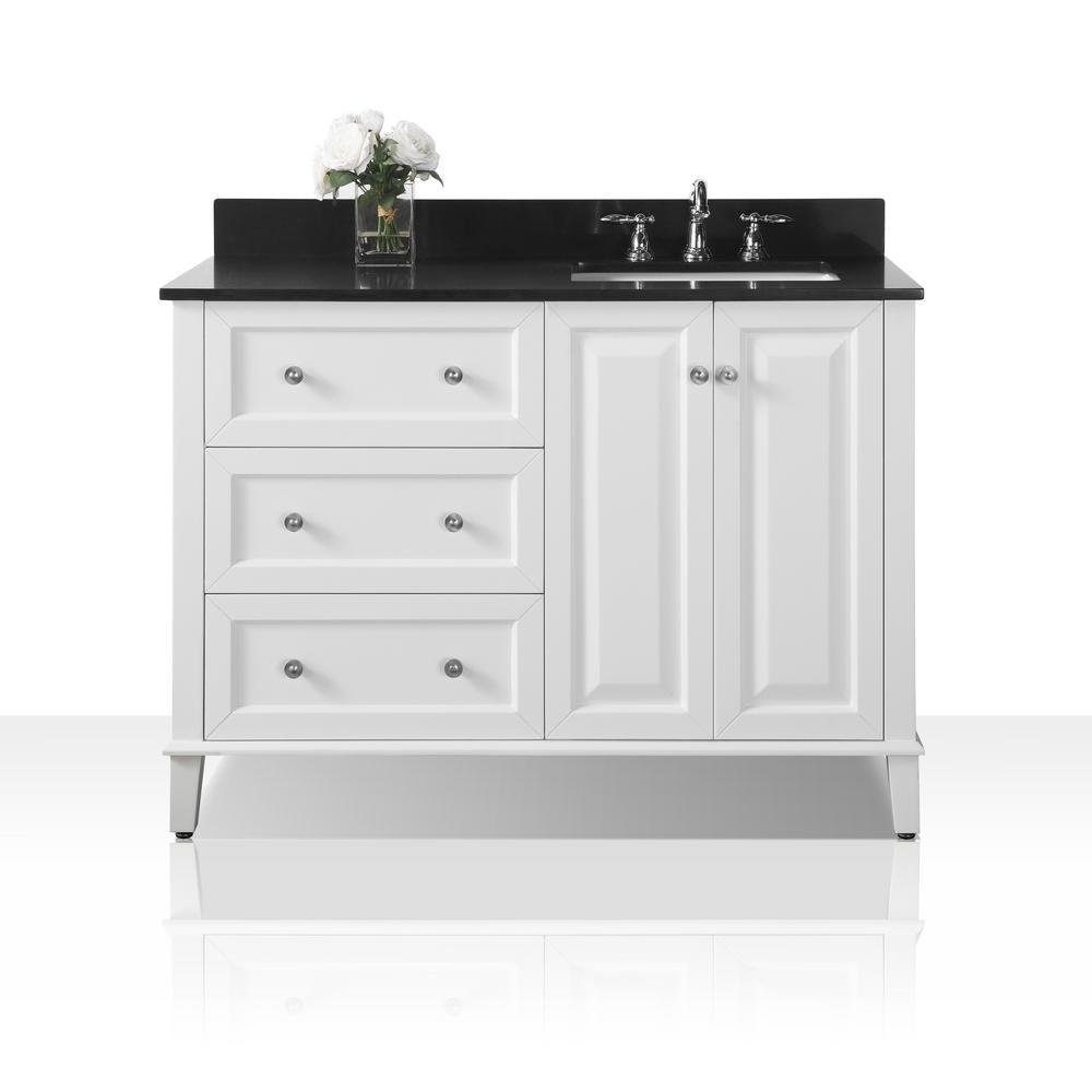 Ancerre Designs Hannah 48 In W X 22 In D Bath Vanity In White With Granite Vanity Top In Black With White Basin And Mirror Granite Vanity Tops Single Sink Single
