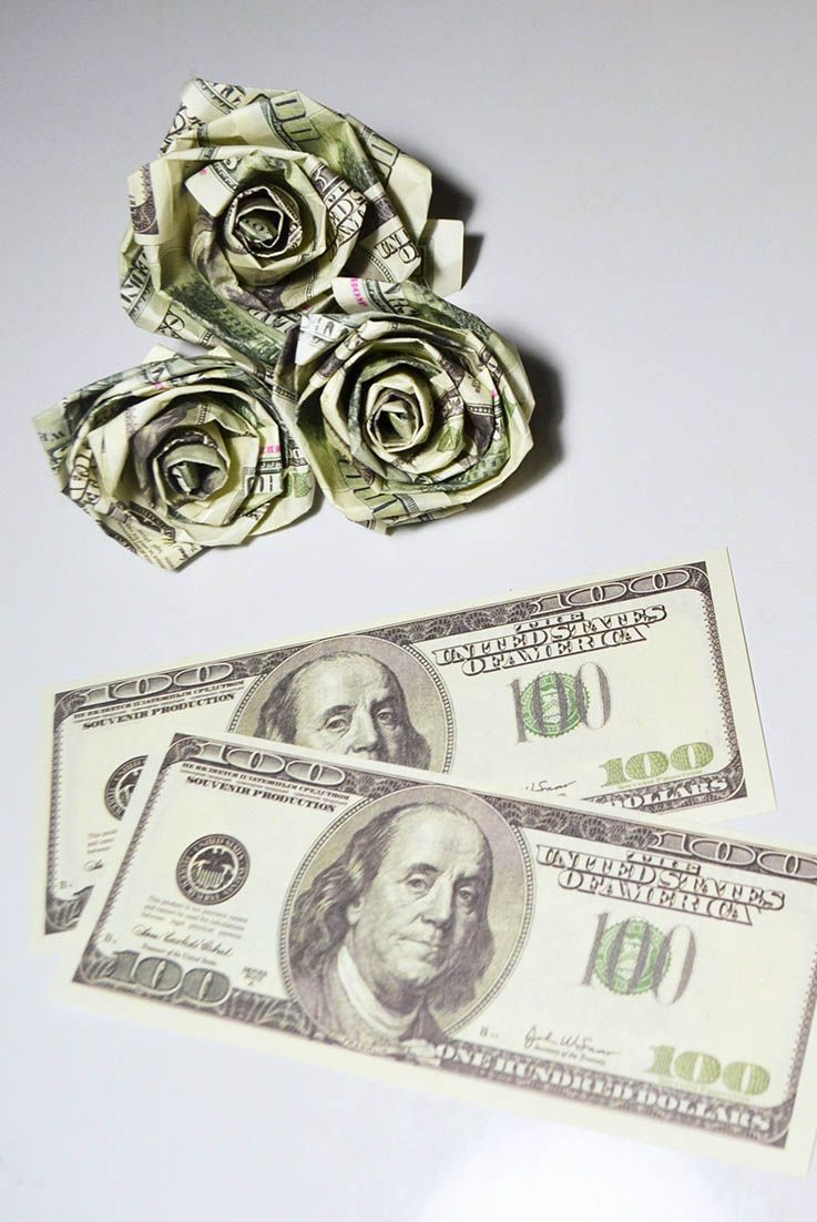 Diy Rose Dollars Money Origami Flower Gift Bills Paper Tutorial
