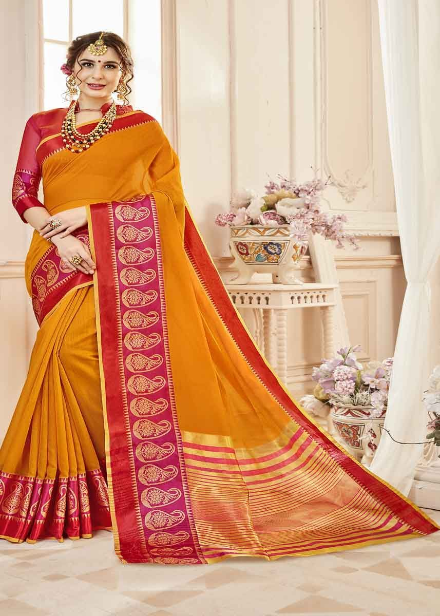 6895dc2509cd4a Fancy Mustard Color Cotton Silk Saree With Traditional Border Work Sarees,  Beautiful Saree, Party