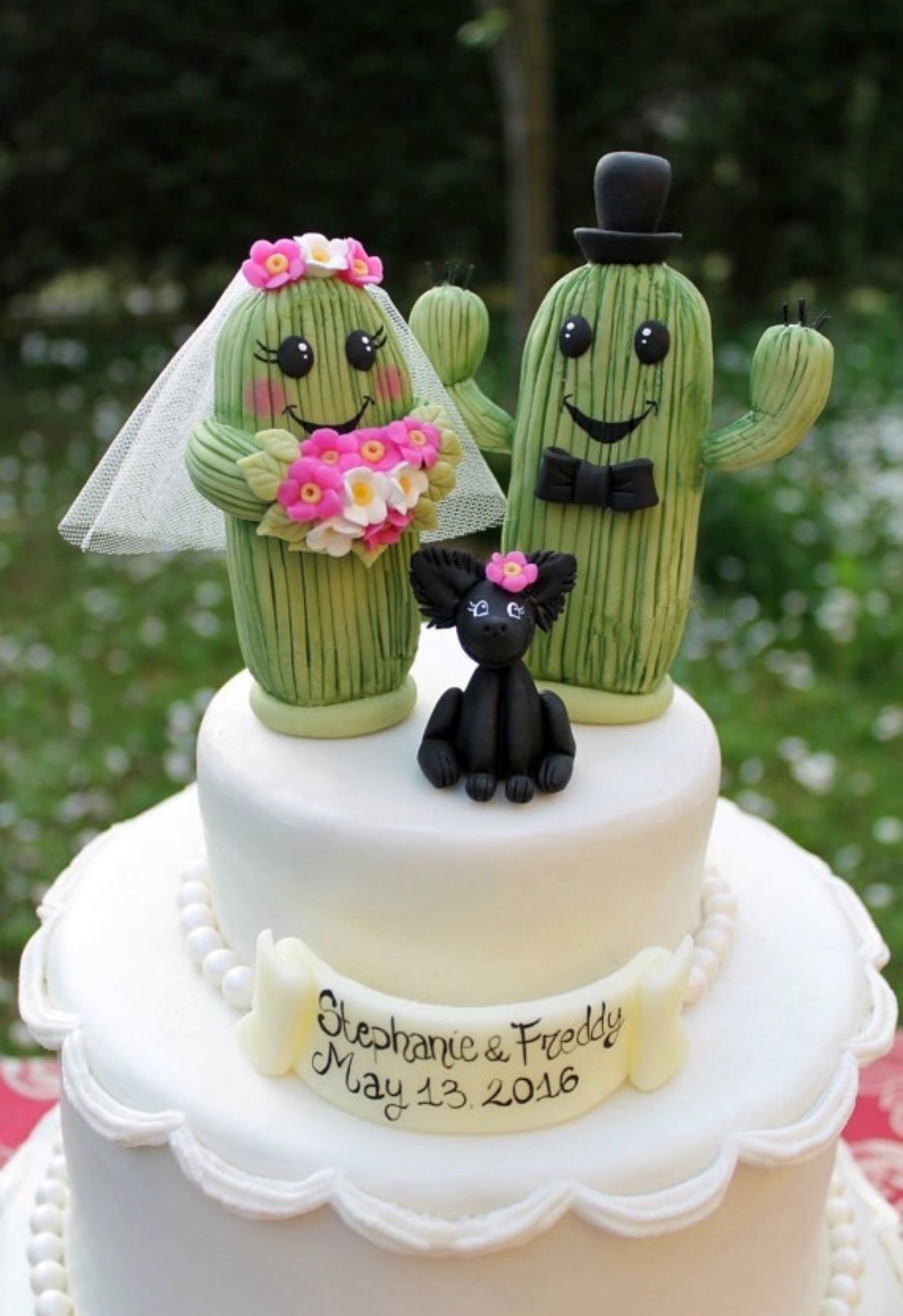 Wedding Cake Topper Cactus Cake Topper Rustic Wedding Cake