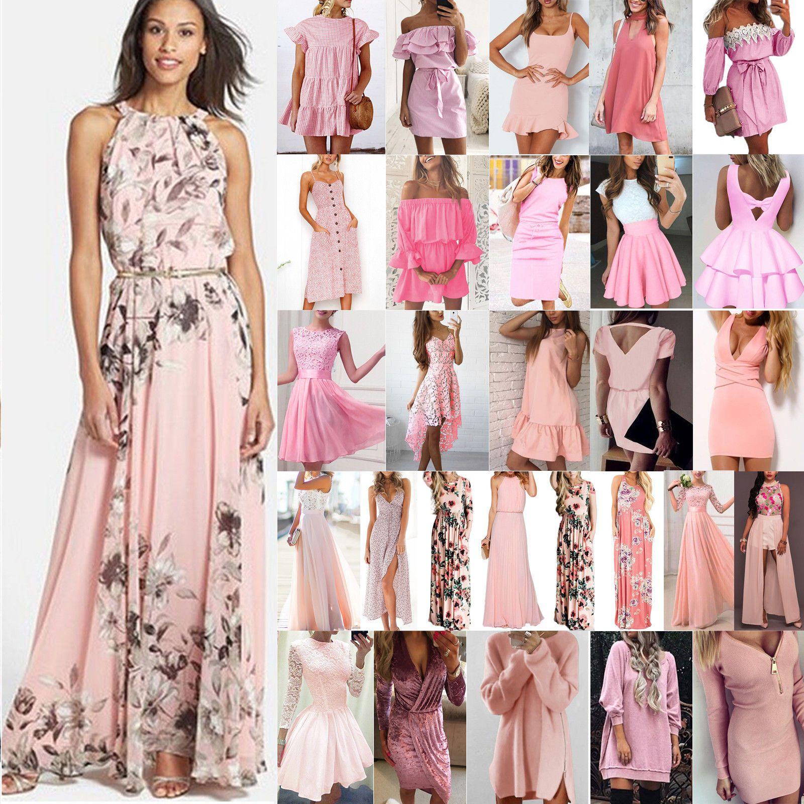 damenmode maxikleid rosa damen kleider boho sommerkleid