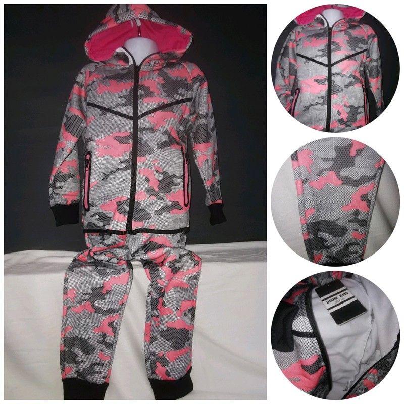 Jogging militaire fille enfant rose, veste et pantalon en
