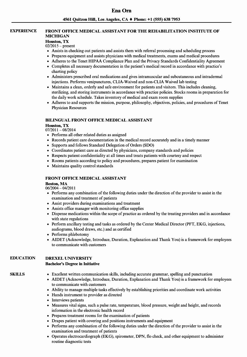 Front Desk Resume Examples Inspirational Front Fice