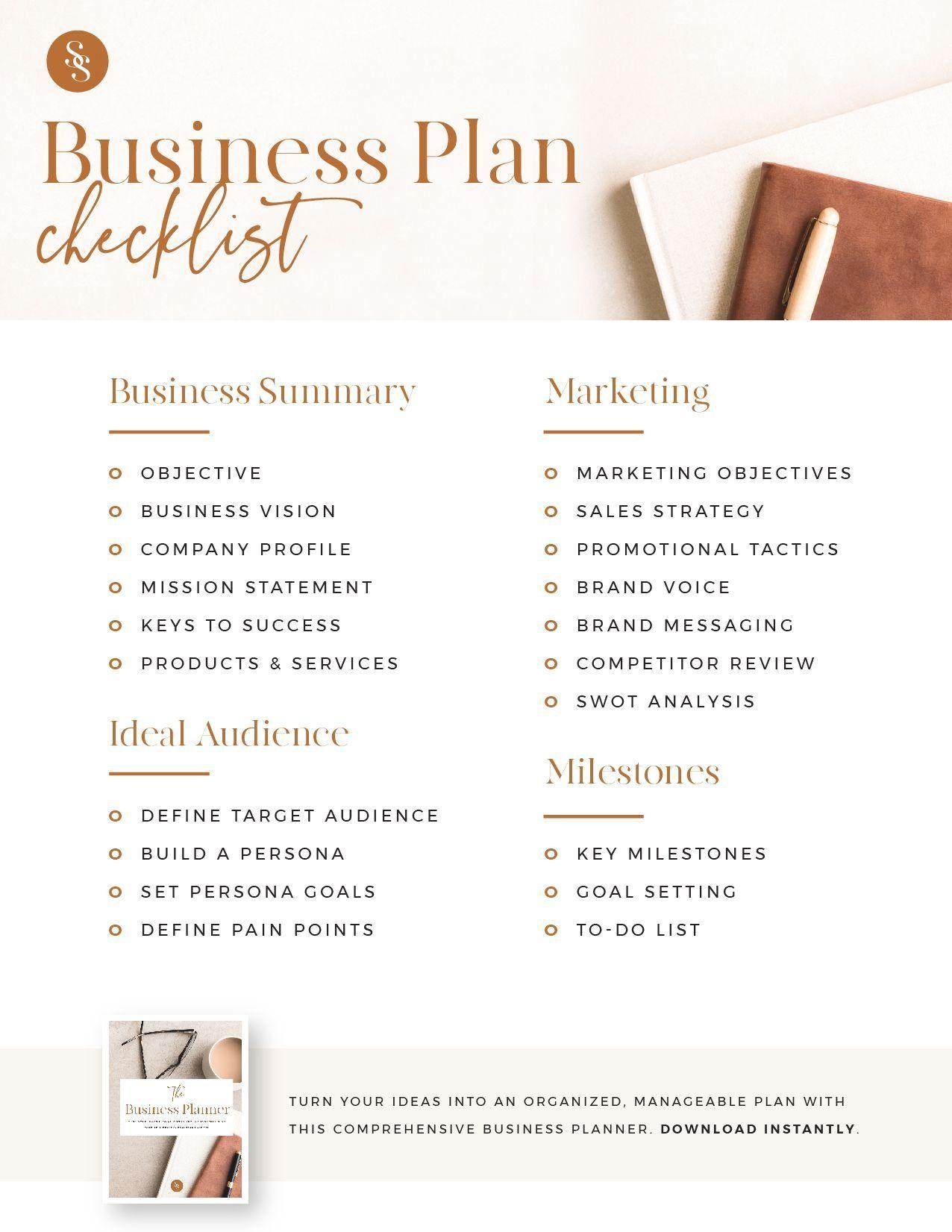 Business Plan Checklist 1000 in 2020 Business planner