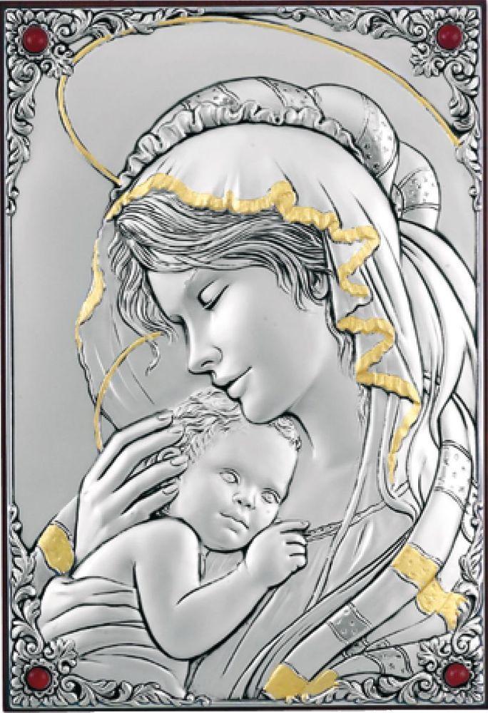Dettagli su quadri oro argento madonna con bambino for Quadri immagini sacre moderni