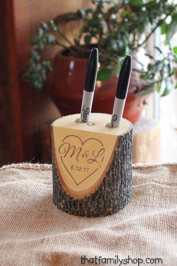 Personalized Wedding Gift Guest Book Alternative Custom Rustic Log Marker Holder Names Date Initials