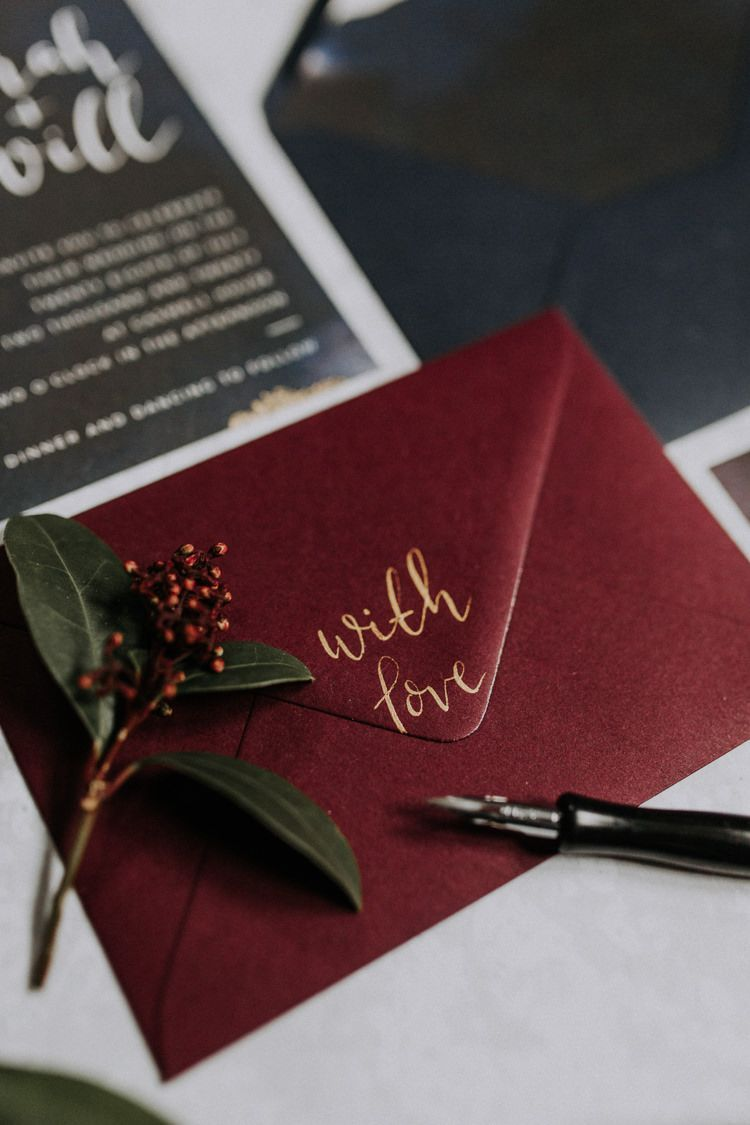 Calligraphy Stationery Invites Invitations Navy Red Moody Jewel Tone ...