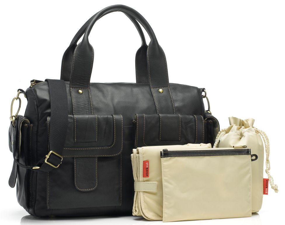 Storksak Sofia Leather Diaper Bag Black Designer Bags