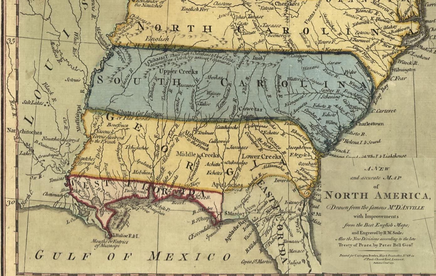 Map Of North Florida And South Georgia.1771 North Carolina South Carolina Louisiana Georgia Florida