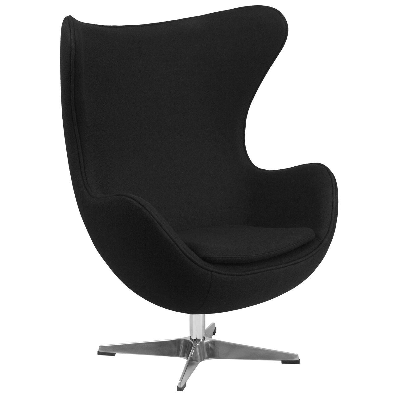Black Wool Fabric Egg Chair with TiltLock Mechanism HOME DECOR