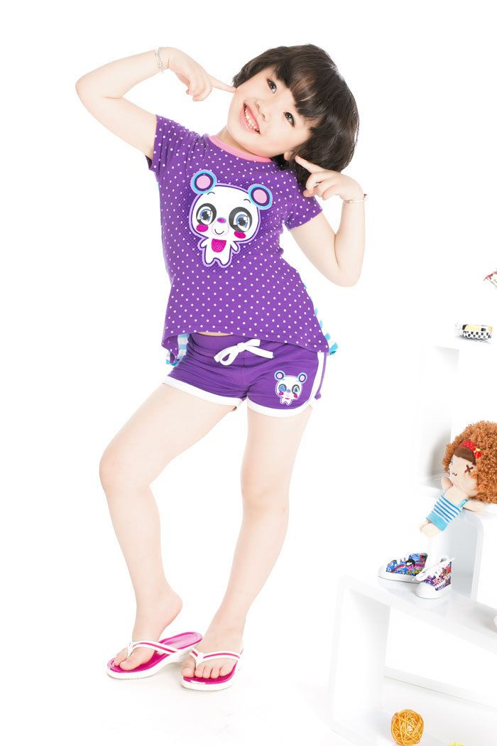Aliexpress.com : Buy Free Shipping 2013 Summer Beach Clothing Girls Dots Sets Cartoon Tshirts + Hot Shorts K0425 from Reliable Girls Summer Suits suppliers on SICIBAY - Kids' Clothing:Selling for Donating
