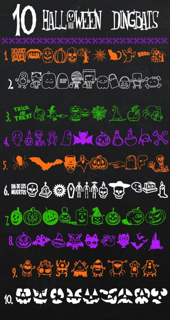 10 amazing free Halloween dingbats. I love that this collection includes both creepy and cute options!