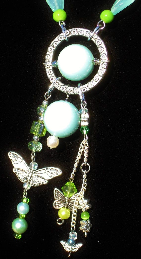 Butterflies green silver floral chain pearls toggle by ElmsRealm, $30.00