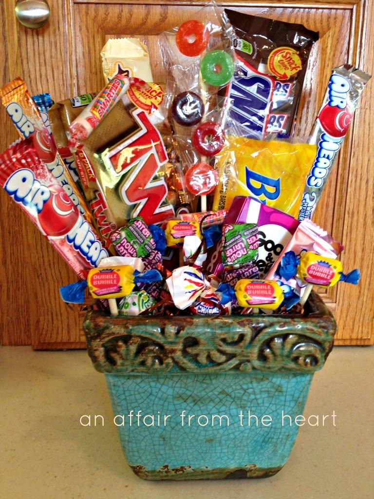 50th Birthday Gift Basket Ideas : Th birthday candy basket and poem