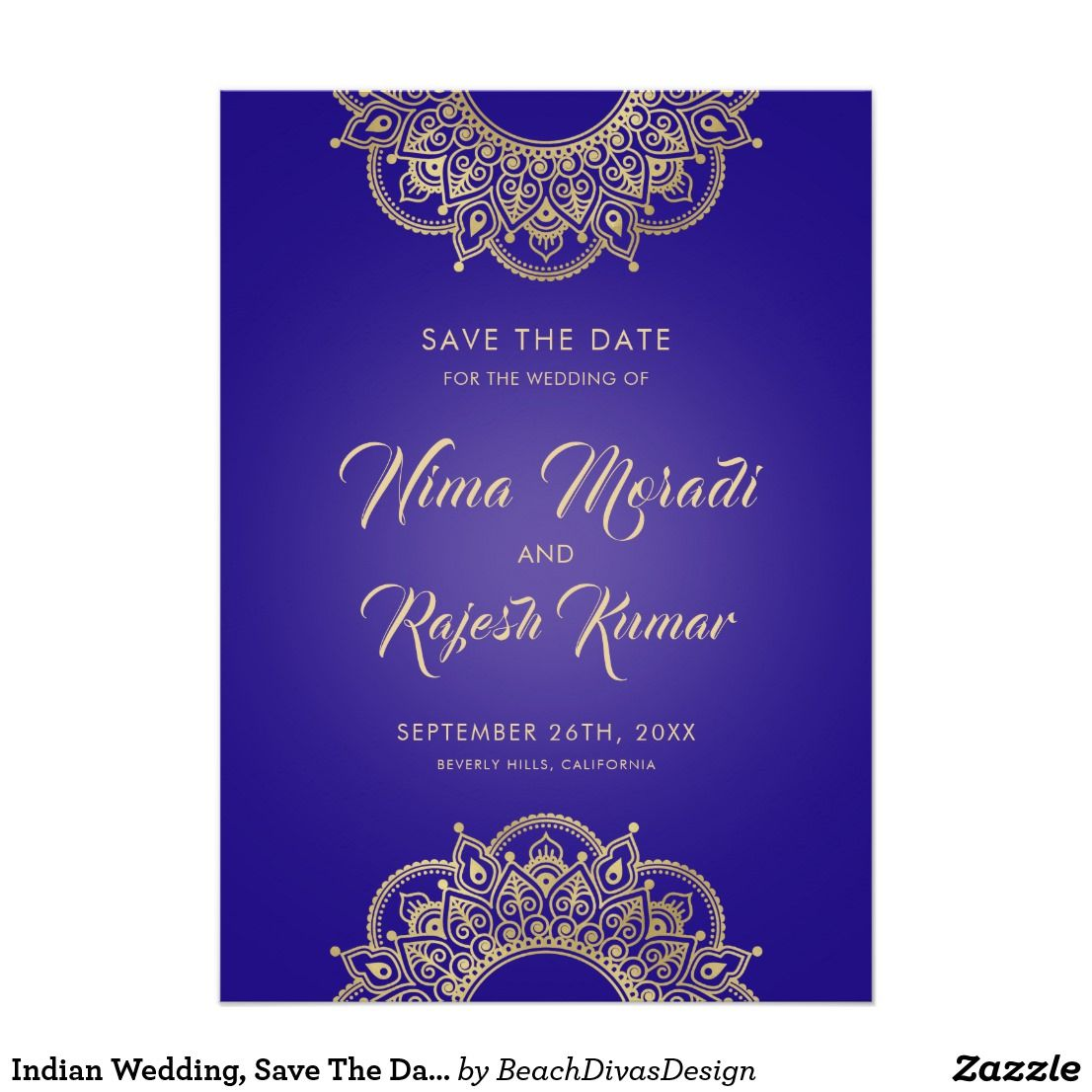 Indian Wedding Save The Date Purple And Gold Save The Date
