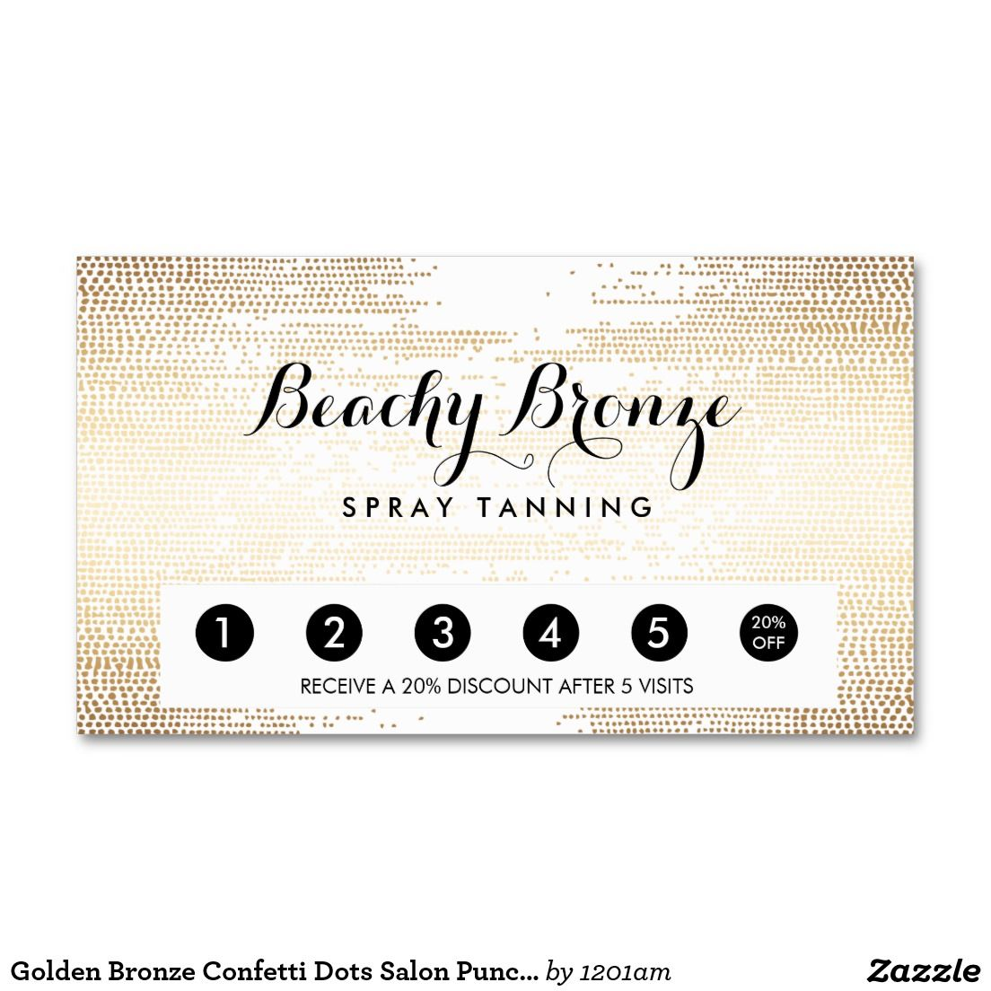 Golden bronze confetti dots salon punch card business cards for golden bronze confetti dots salon punch card business cards for spray tanning salons mobile spray reheart Gallery