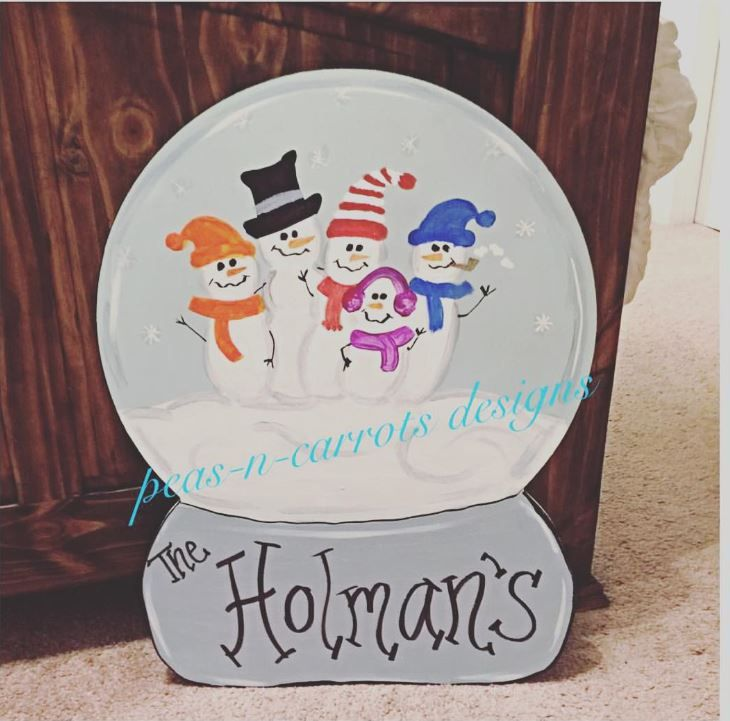 Peas N Carrots Designs Snowglobe Family Wooden Door Hanger Sign & Peas N Carrots Designs Snowglobe Family Wooden Door Hanger Sign ... pezcame.com