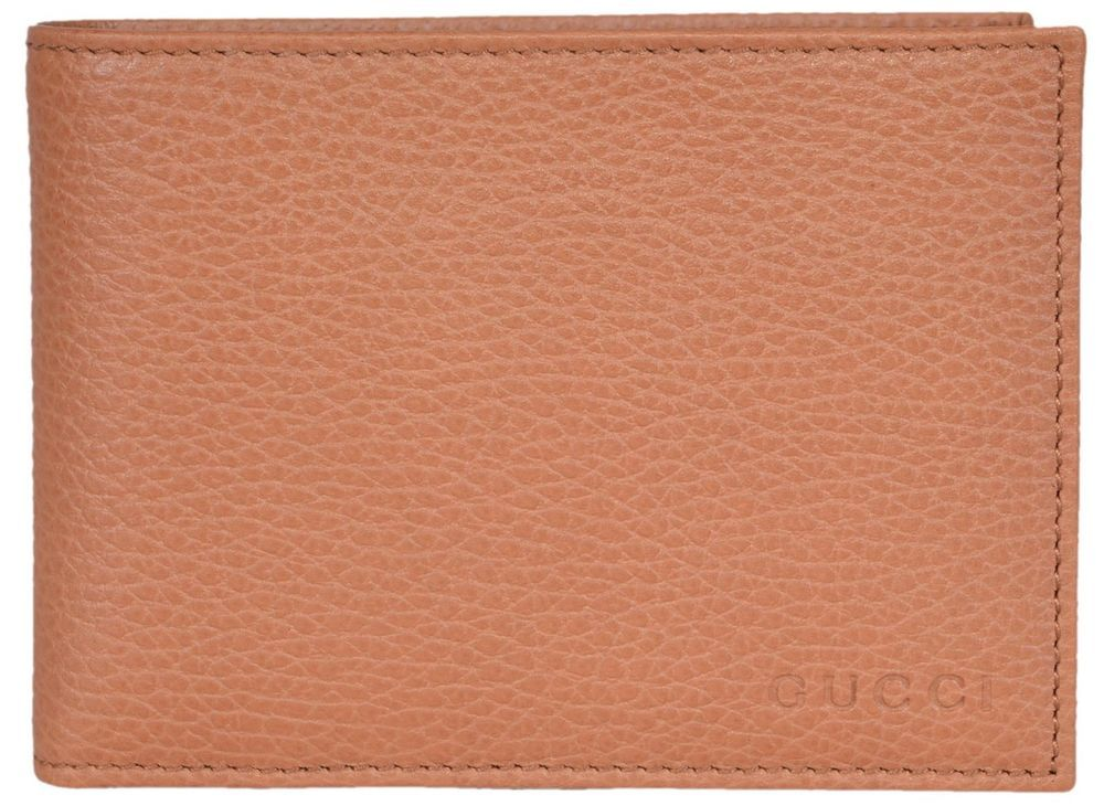 df555a92554 NEW Gucci Men s 292534 Saffron Tan Textured Leather W Coin Large Bifold  Wallet  Gucci  Bifold