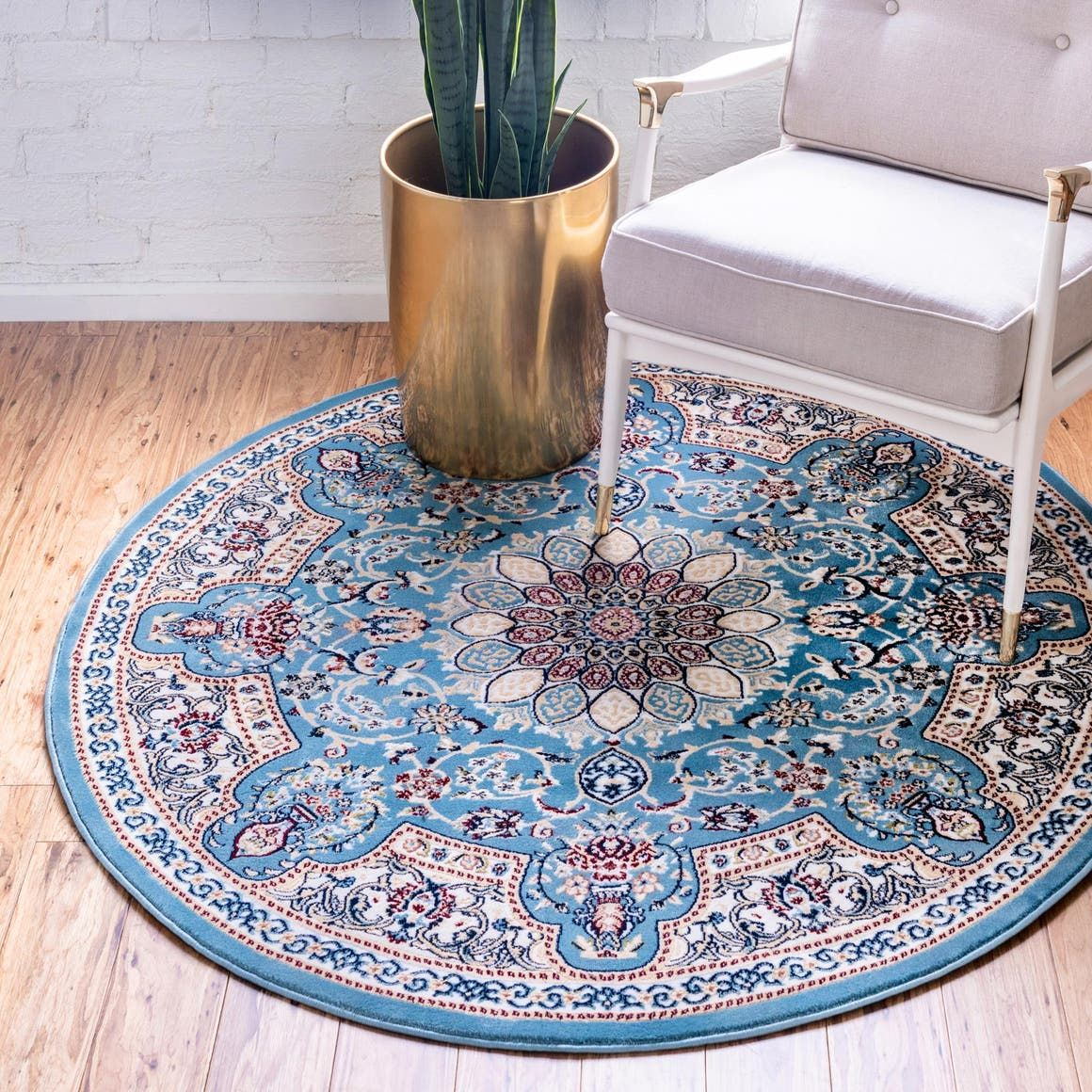 Rabia Blue 3 Ft Round Area Rug In 2020 Rugs Area Rugs Round