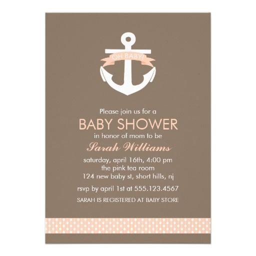 Cute Coral Anchor Nautical Theme Baby Shower Invites #invitations #baby#shower #nautical #anchor #sailor #coral #cute #announcement