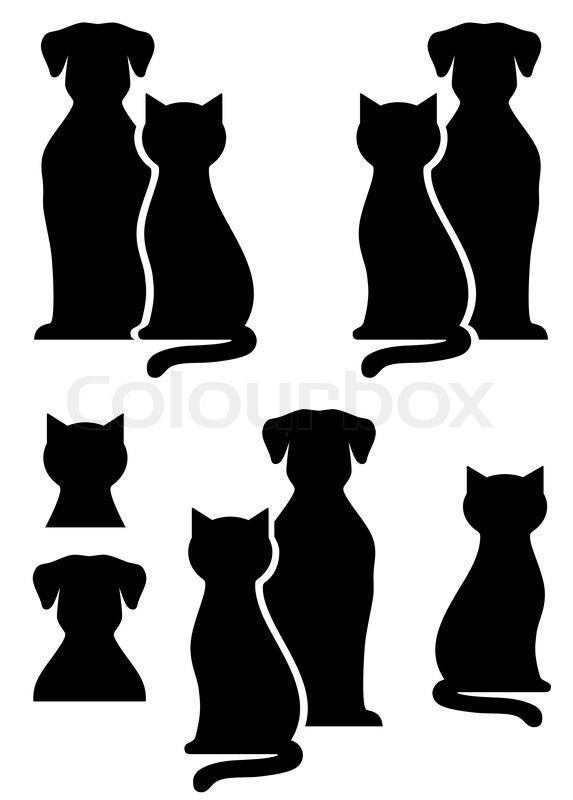 Cat Grooming Clip Art Vector Of Black Isolated Dog And Cat Silhouette On White Background Catgroomingd Cat And Dog Tattoo Dog Silhouette Cat Silhouette