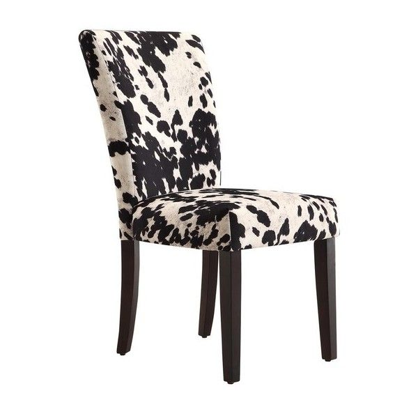 Portman Cow Hide Parson Dining Chairs By Tribecca Home ($212) ❤ Liked On  Polyvore