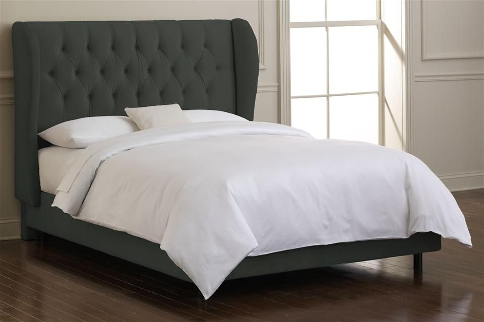 54.5 in. Wingback Tufted Bed w Foam Padding in Pewter | Furniture ...