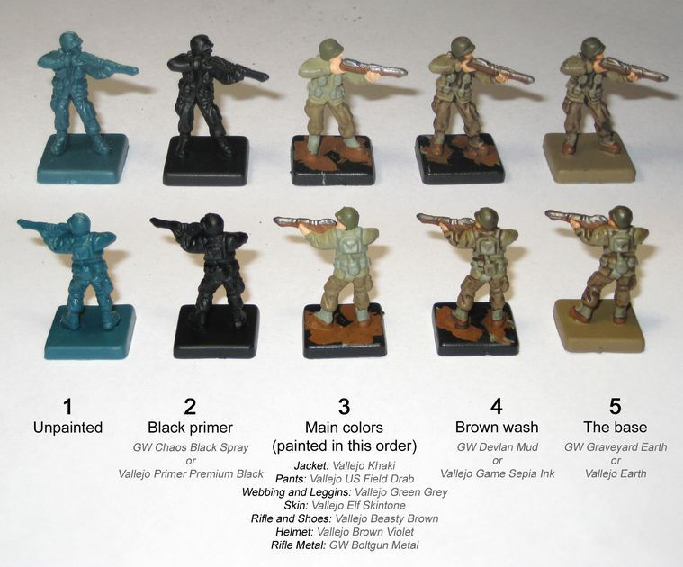 Step By Step Instructions For Painting An Us Soldier Miniature Bolt Action Miniatures Air Brush Painting Miniature Painting