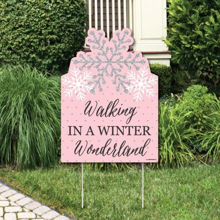Pink Winter Wonderland - Party Decorations - Holiday Snowflake Birthday Party or Baby Shower Welcome Yard Sign - Walmart.com #winterwonderlandbabyshowerideas
