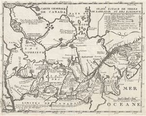 a fine example of lahontans scarce and important 1715 map of the great lakes canada