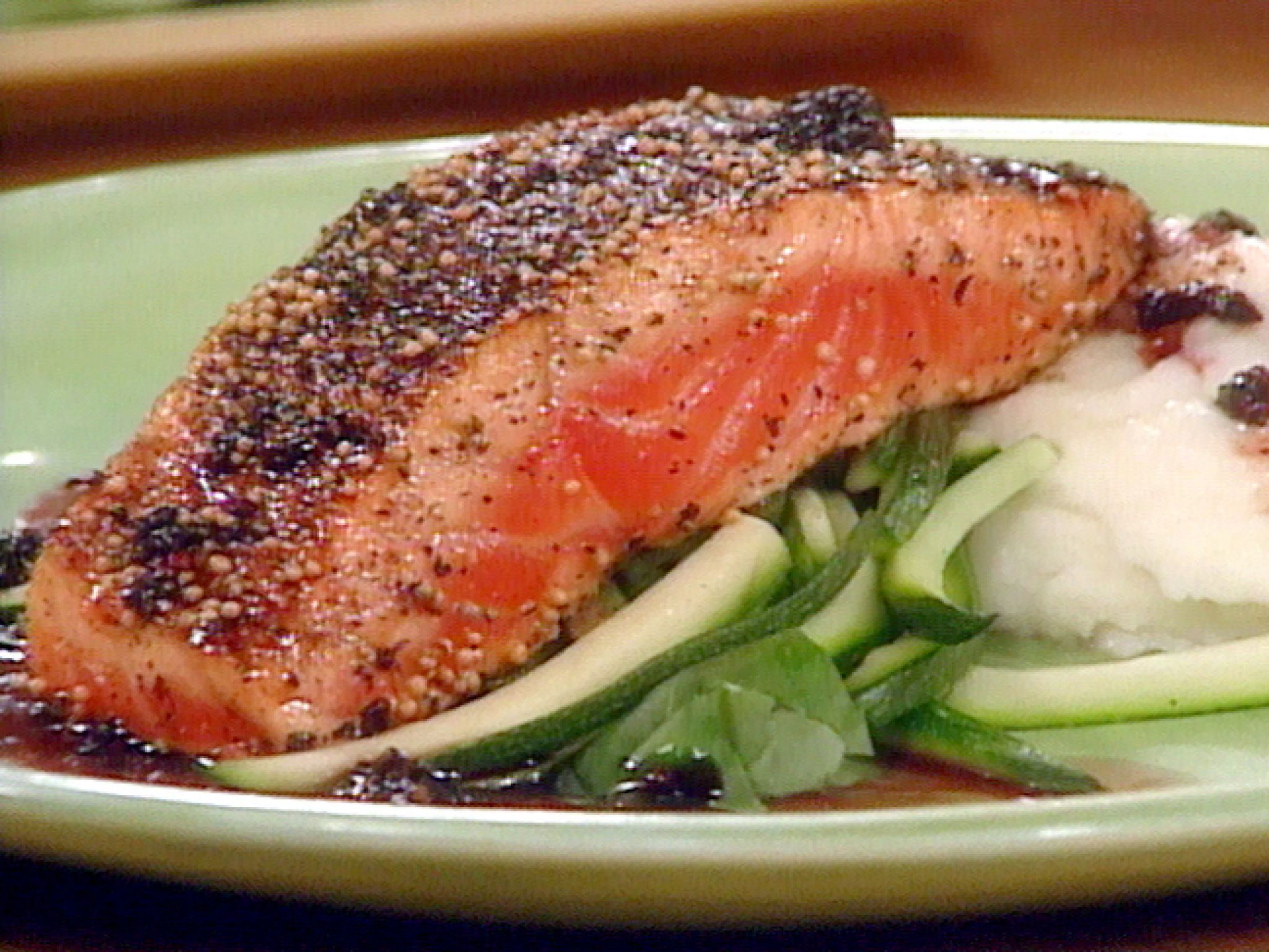 Mustard Pepper Salmon With Red Wine Sauce Recipe Food Network Recipes Stuffed Peppers Wine Sauce