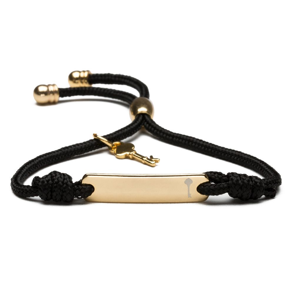 Pulseira masculina em paracord crhistian gold rope black key
